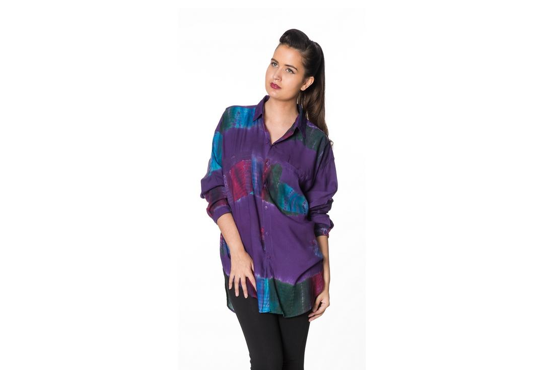 Void Clothing | Multi-Colour Plum Tie Dye Shirt - Front