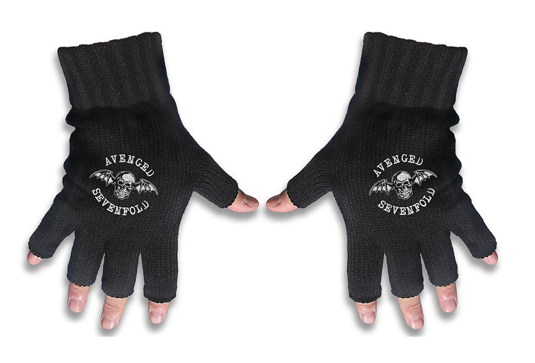 Official Band Merch | Avenged Sevenfold - Death Bat Embroidered Knitted Finger-less Gloves