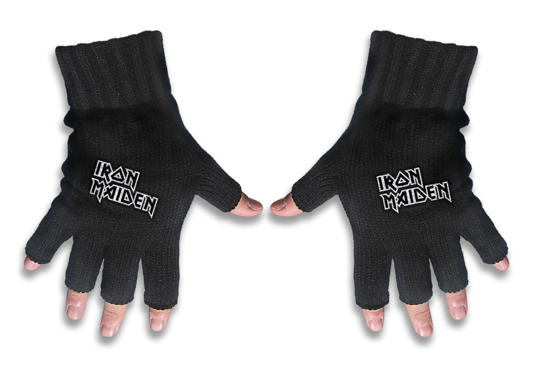 Official Band Merch | Iron Maiden - White Logo Embroidered Knitted Finger-less Gloves