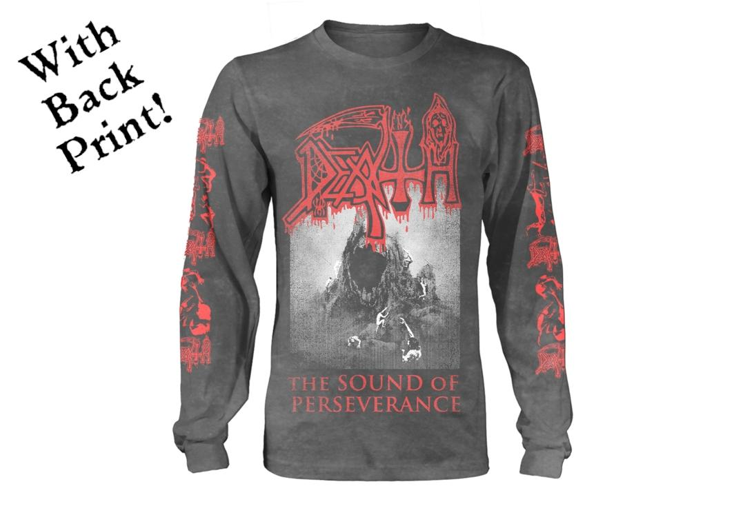Official Band Merch | Death - The Sound Of Perseverance Grey Men's Official Long Sleeve T-Shirt - Front