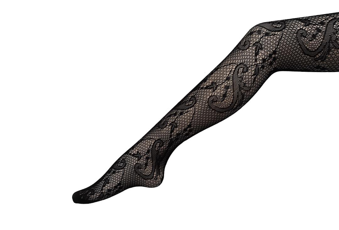 Silky | Vine Black Fishnet Tights - Main
