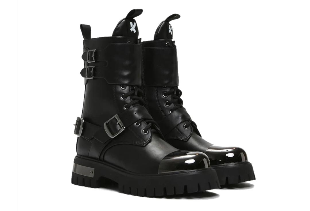 Koi Footwear | Desolation Gunmetal Combat Boots - Side Pair