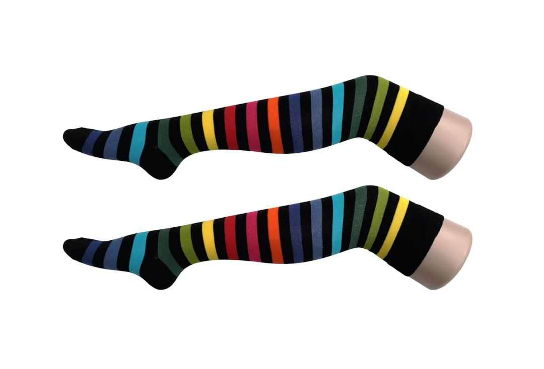 Macahel | Black Rainbow Thick Stripe Over The Knee Socks