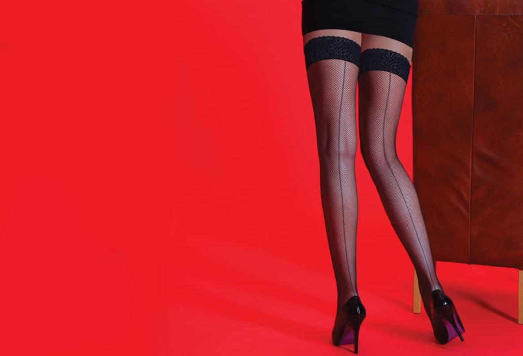 Silky | Seamed Black Fishnet Hold Up Stockings