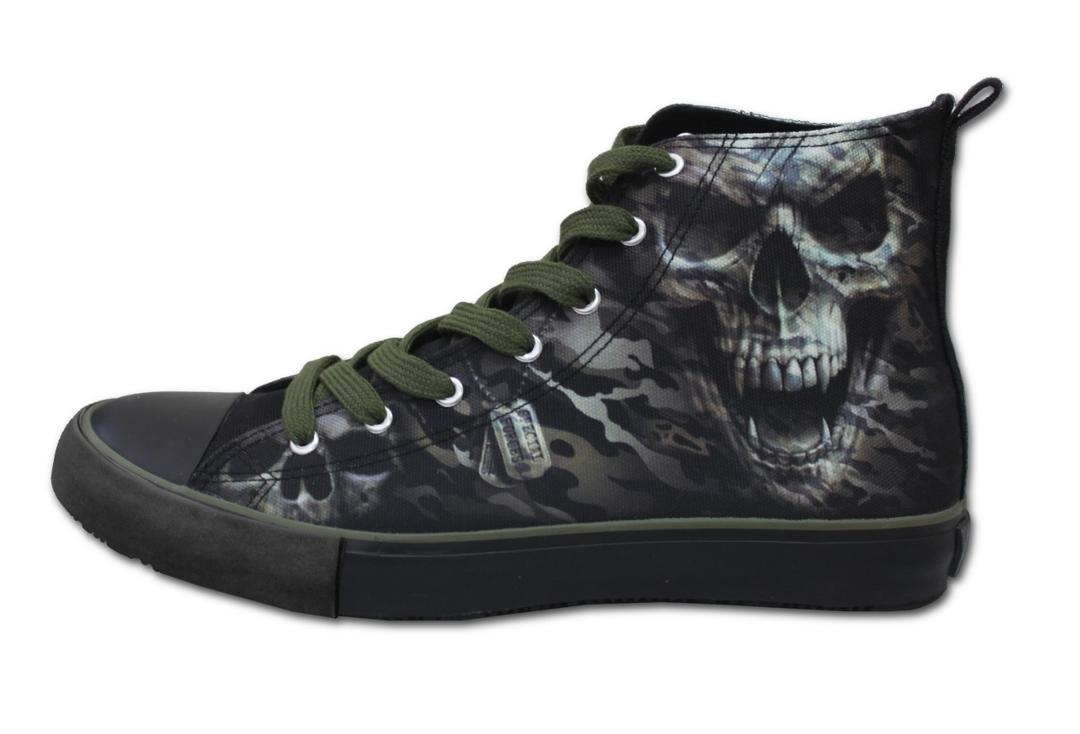 Spiral Direct | Camo Skull Men's Lace Up High Top Sneakers - Side