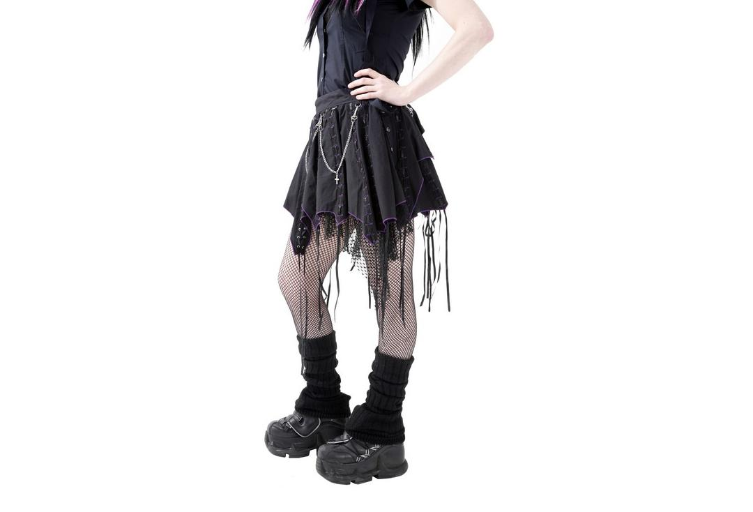 Dead Threads | Purple Ribbon & Chain Goth Skirt - Side View