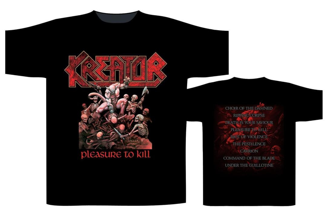 Official Band Merch | Kreator - Pleasure To Kill Men's Short Sleeve T-Shirt - Front View