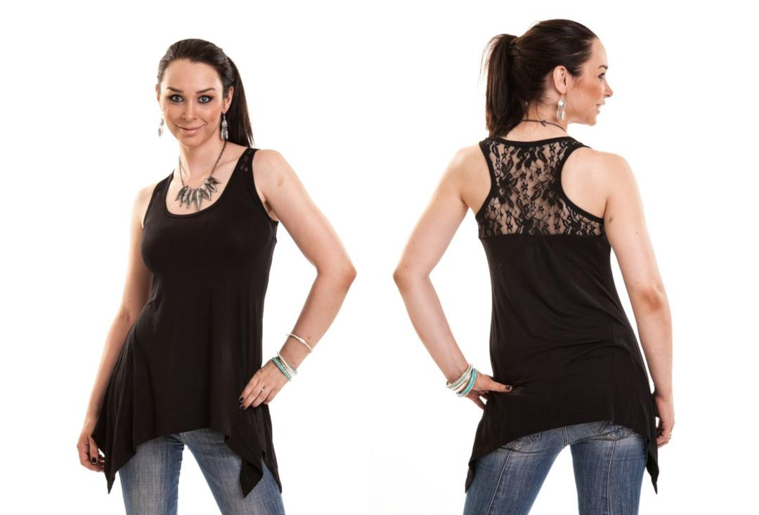 Innocent Lifestyle | Amber Black Lace Panel Vest Top - Collage