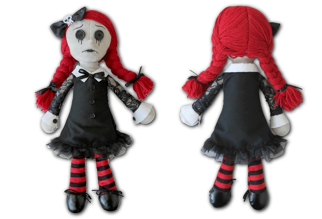 Spiral Direct | Luna The Goth Rag Doll Plush Toy - Front & Back