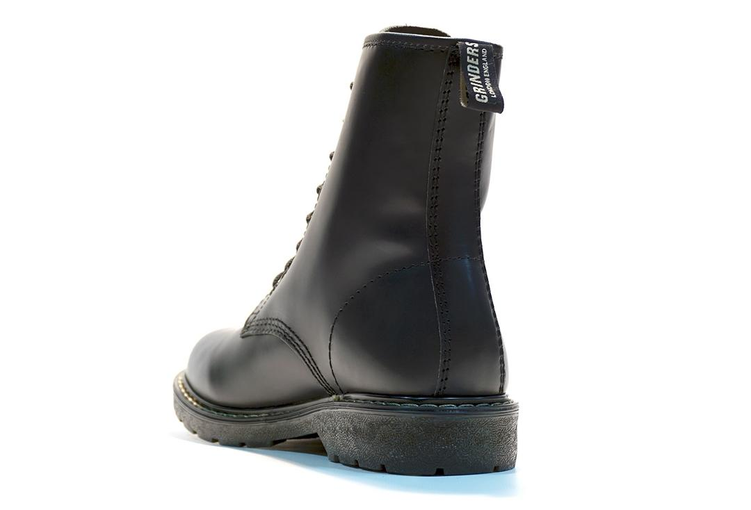 Grinders | Cedric Men's Black Leather Boots - Back Side View
