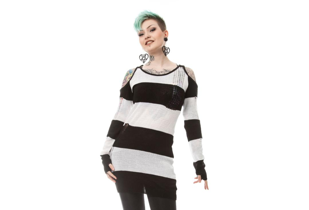 Heartless | Tokyo White & Black Knitted Top - Front