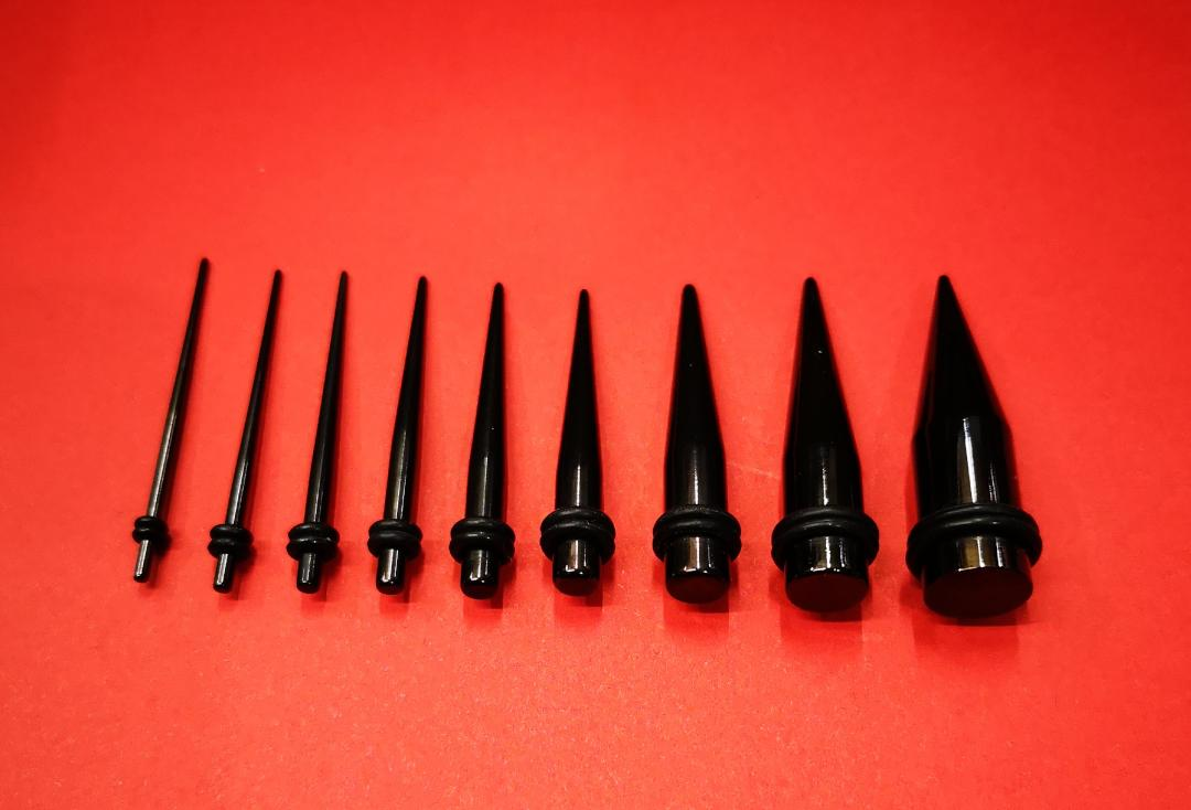 Body Jewellery | Black PVD Surgical Steel Stretching Tapers 1.6mm to 10mm