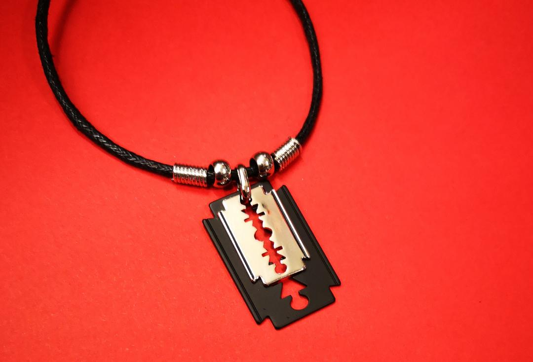 Void Clothing | Black & Silver Double Razor Blade Pendant