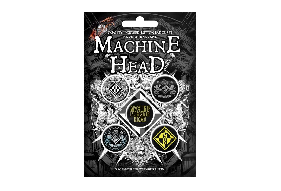 Official Band Merch | Machine Head - Crest Button Badge Pack