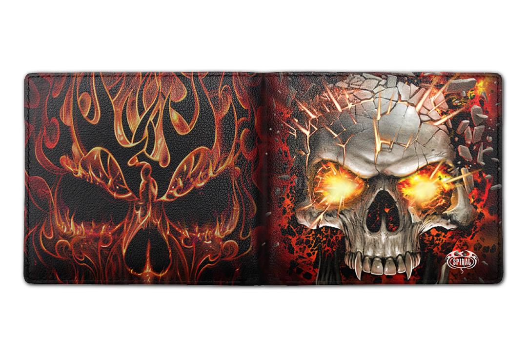 Spiral Direct | Skull Blast Spiral Bi-Fold RFID Blocking Wallet - Front & Back