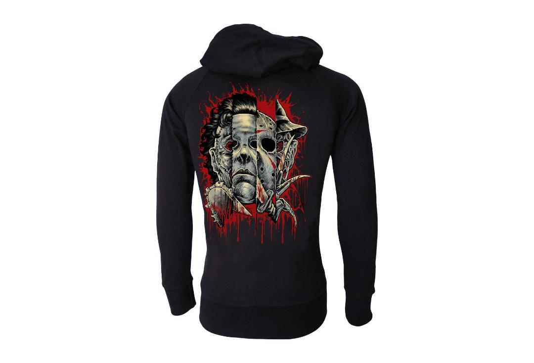 Darkside Clothing | Faces Of Horror Lightweight Cotton Unisex Zip Hood - Back