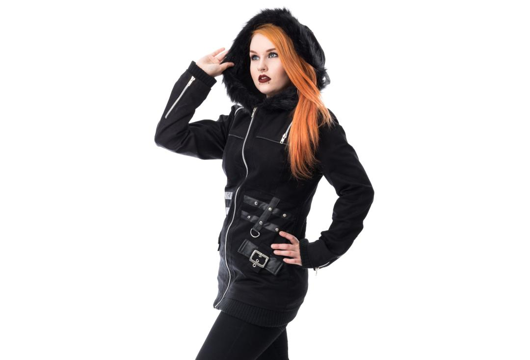Heartless | Sara Black Hooded Jacket - Front