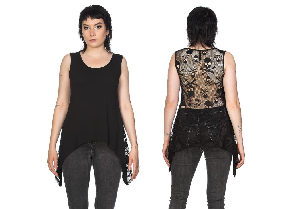 Banned Apparel | Skull Mesh Throw On Vest Top - Front & Back
