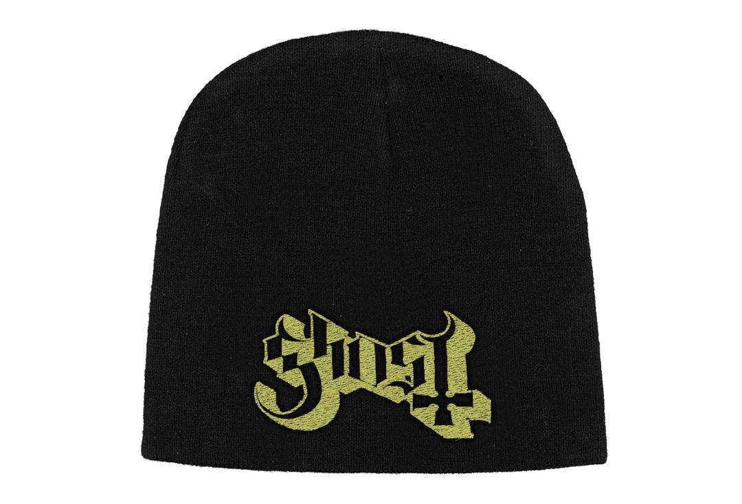 Official Band Merch | Ghost - Yellow Logo Embroidered Knitted Beanie Hat