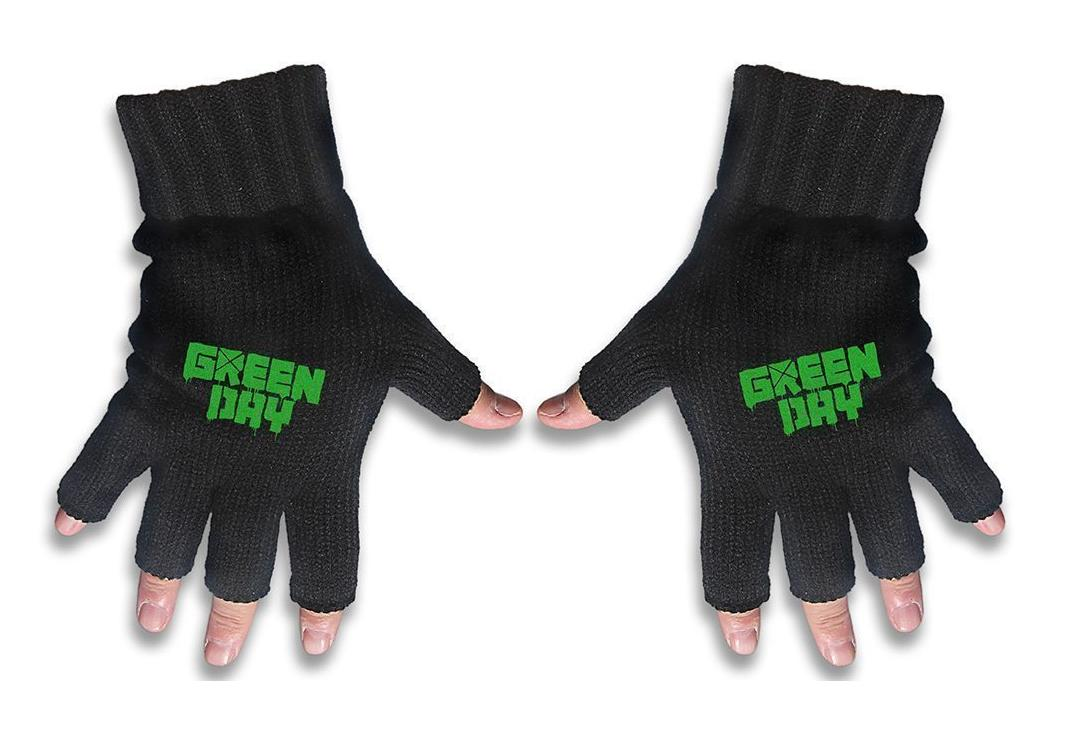 Official Band Merch | Green Day - Logo Embroidered Knitted Finger-less Gloves