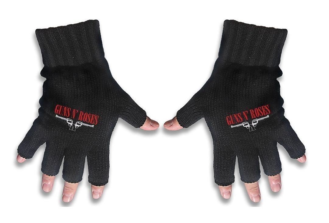 Official Band Merch | Guns 'N' Roses - Logo & Guns Embroidered Knitted Finger-less Gloves