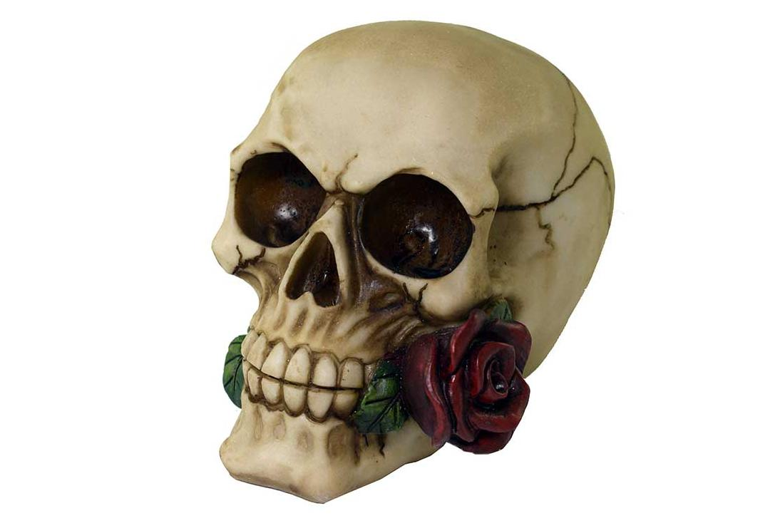 Void Clothing | Single Red Rose Skull Decoration