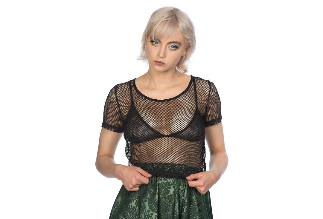 Banned Apparel | Temptress Black Fishnet Crop Top - Front
