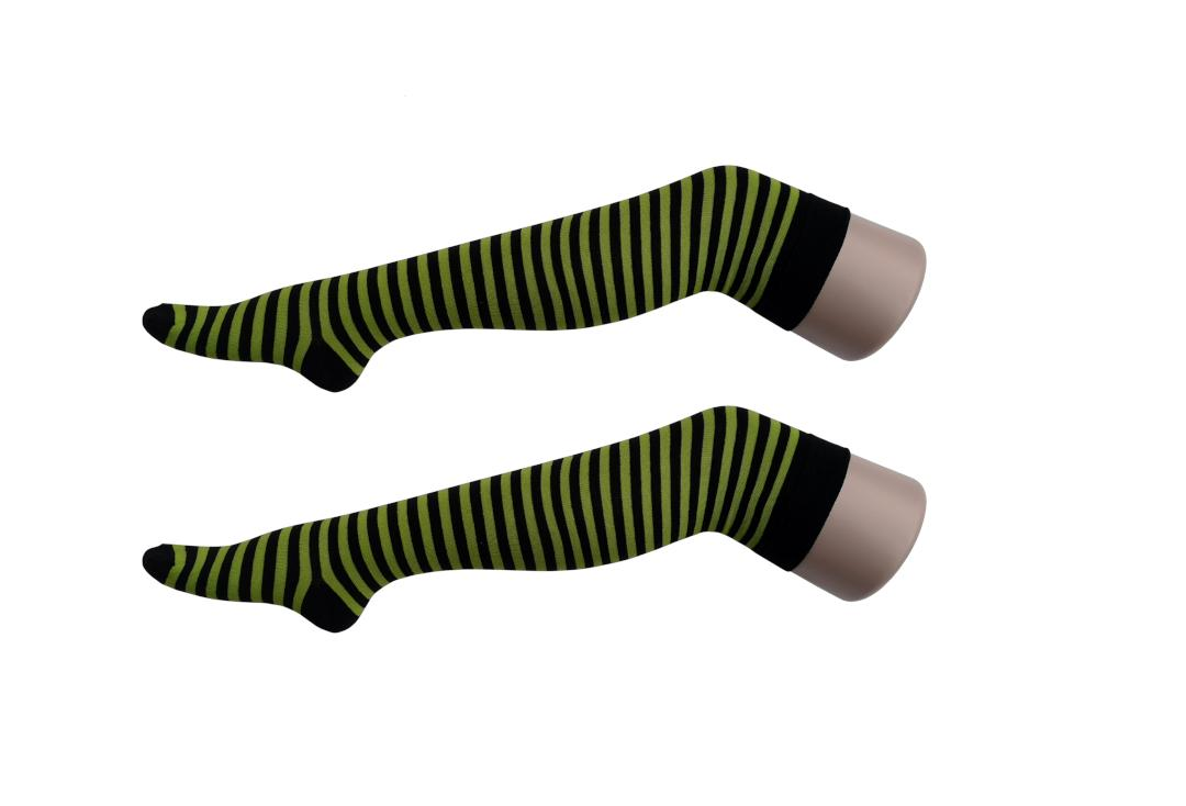 Macahel | Lime Green Thin Stripe Over The Knee Socks