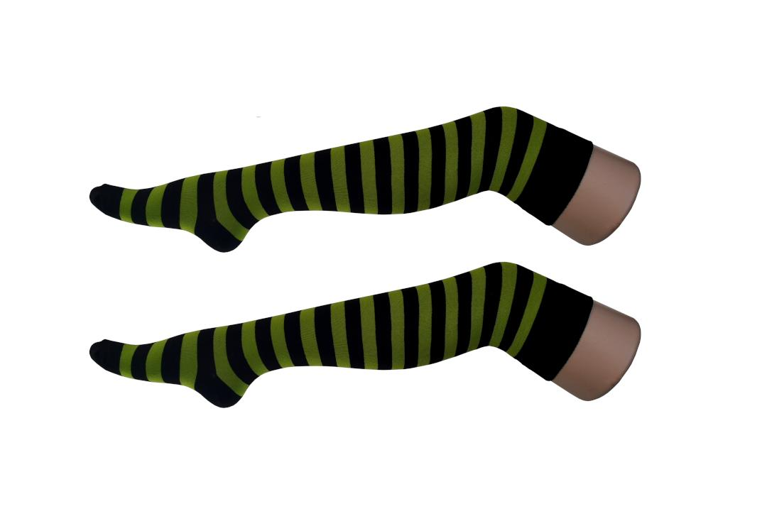 Macahel | Lime Green & Black Thick Stripe Over The Knee Socks