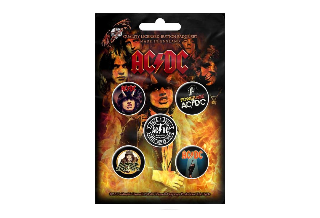Official Band Merch | AC/DC - Highway To Hell Button Badge Pack