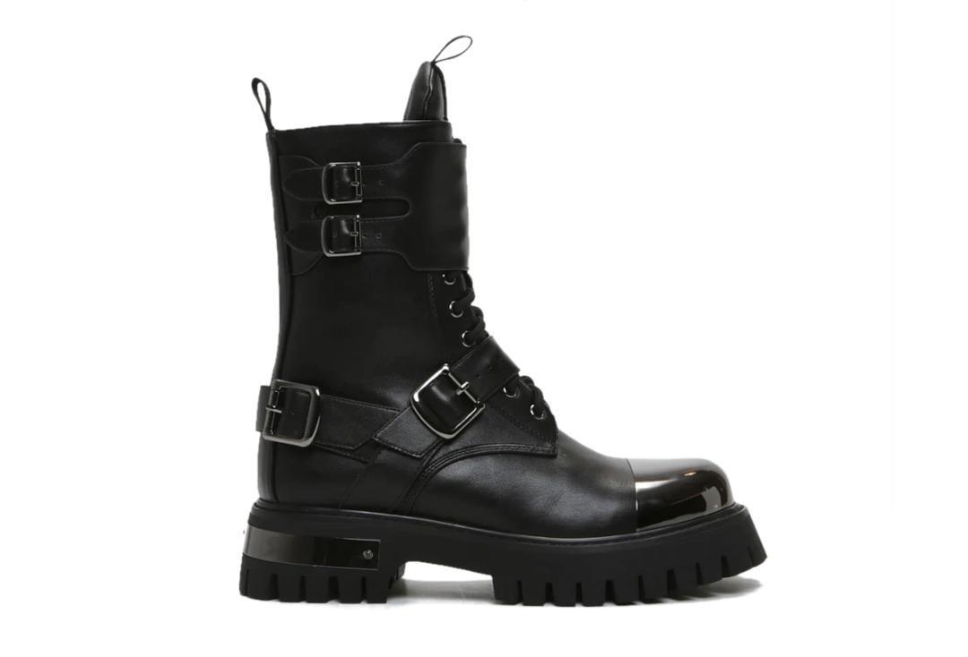Koi Footwear | Desolation Gunmetal Combat Boots - Side SIngle