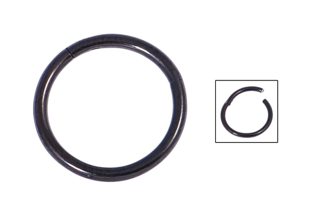 Body Jewellery | Black PVD Surgical Steel Hinged Segment Ring - 1.2mm & 1.6mm