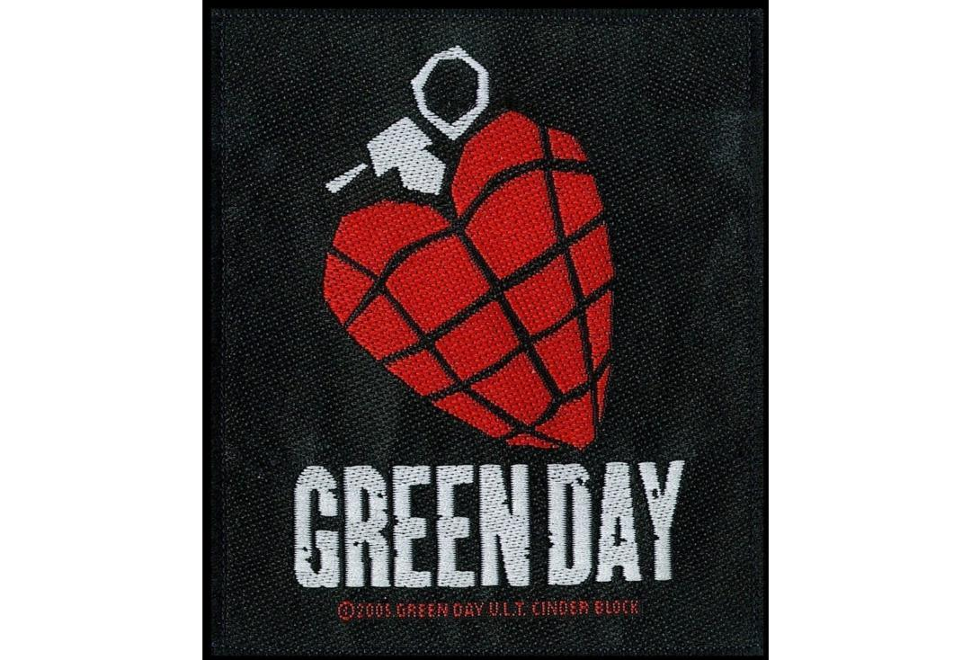 Official Band Merch | Green Day - Heart Grenade Woven Sew On Patch