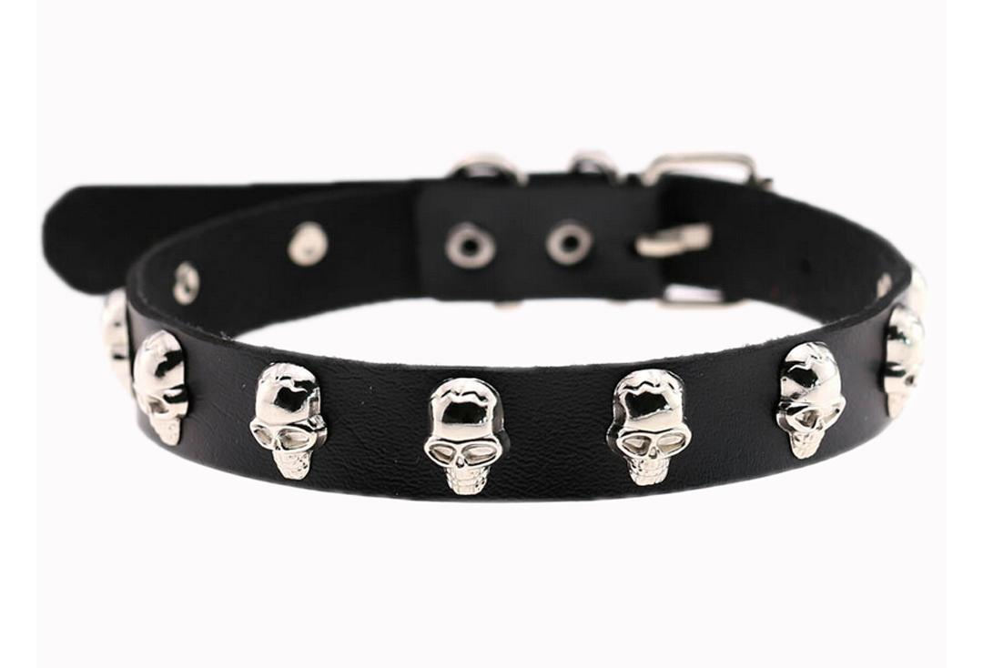 Banned | Black Lestrange Skull Studded Collar - Plain View