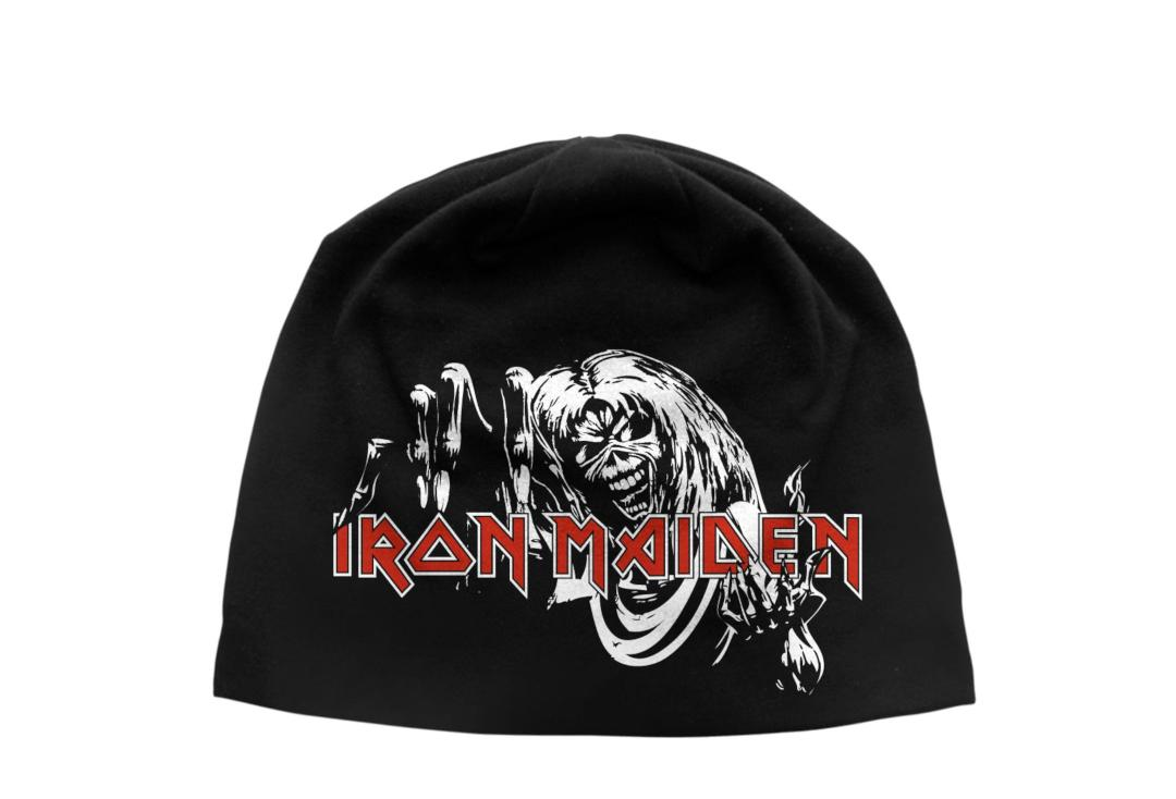 Official Band Merch | Iron Maiden - Number Of The Beast Discharge Printed Jersey Beanie