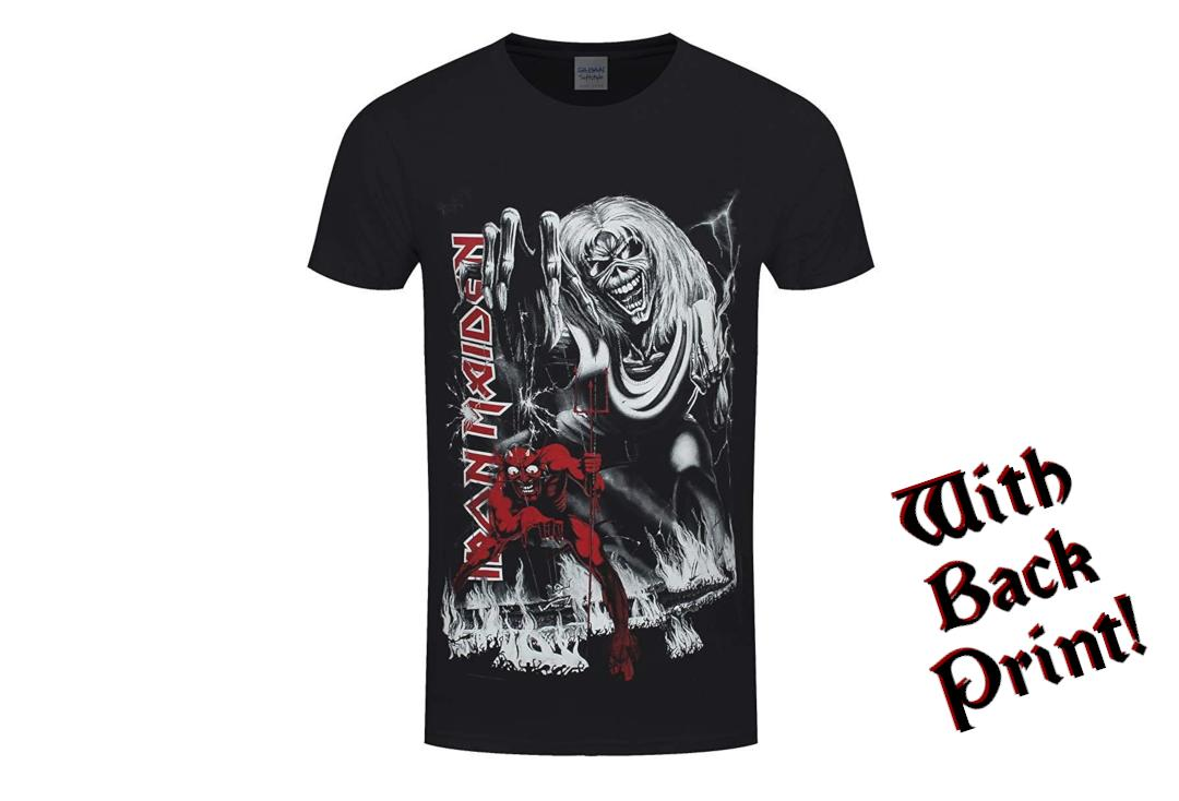 Official Band Merch | Iron Maiden - Number Of The Beast Jumbo Print Men's Short Sleeve T-Shirt - Front View