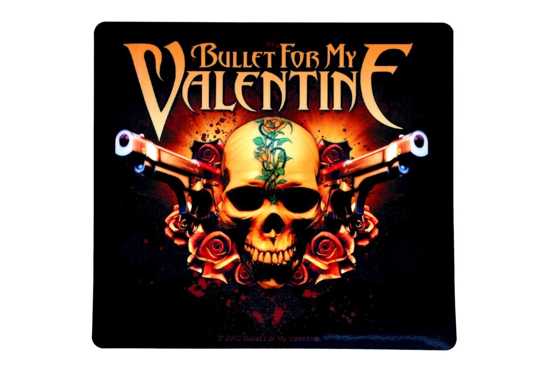 Official Band Merch | Bullet For My Valentine - Guns And Roses Skull Vinyl Sticker