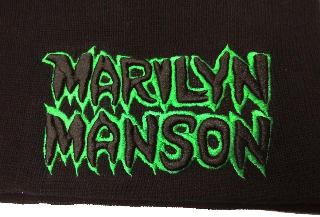 Official Band Merch | Marilyn Manson - Logo Beanie Hat - Close Up