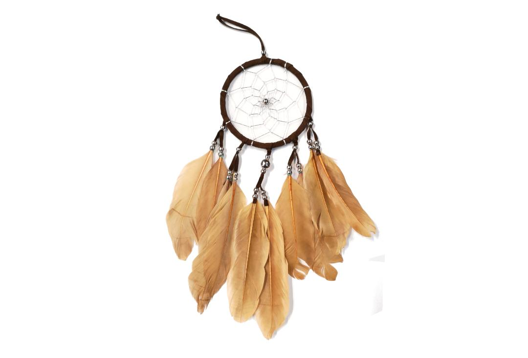 Void Clothing | Brown Long Feather Plain Dream Catcher
