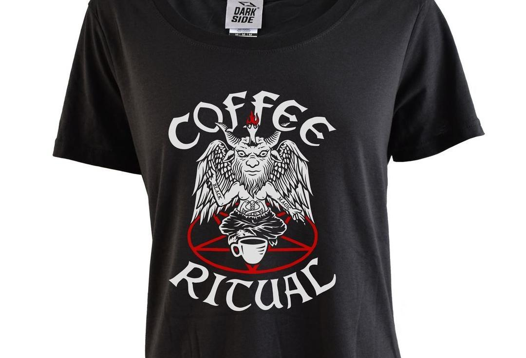 Darkside Clothing | Coffee Ritual Scoop Neck Loose Fit Women's T-Shirt - Close Up