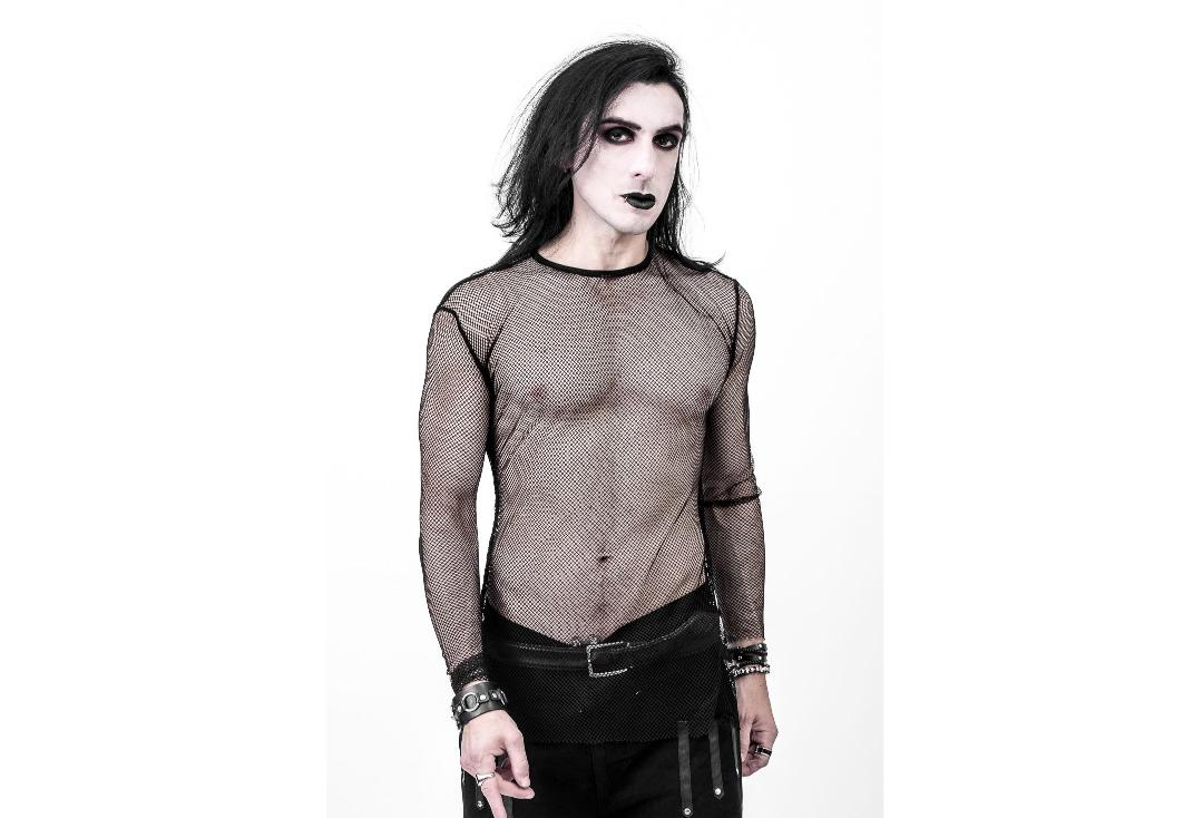 Necessary Evil | Kane Black Fishnet Top - Front