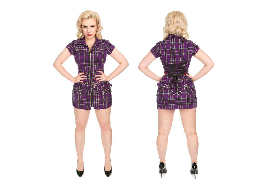 Hearts & Roses | Purple Tartan Buckle 0321 Punk Dress - Full View