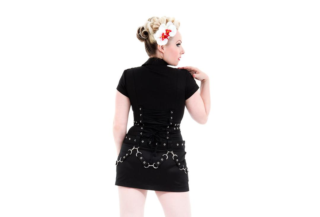 Hearts & Roses | Black Buckle 0321 Punk Dress - Back Close