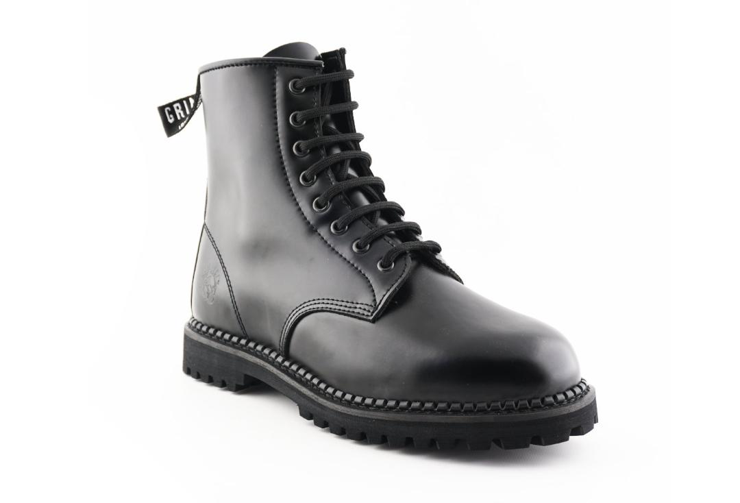 Grinders | Cedric Women's Black Leather Boots - Front Side View