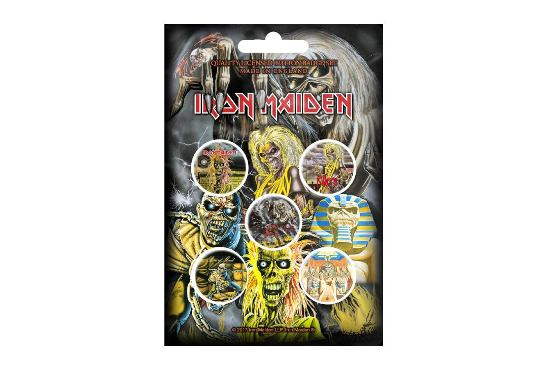Official Band Merch | Iron Maiden - Early Albums Button Badge Pack