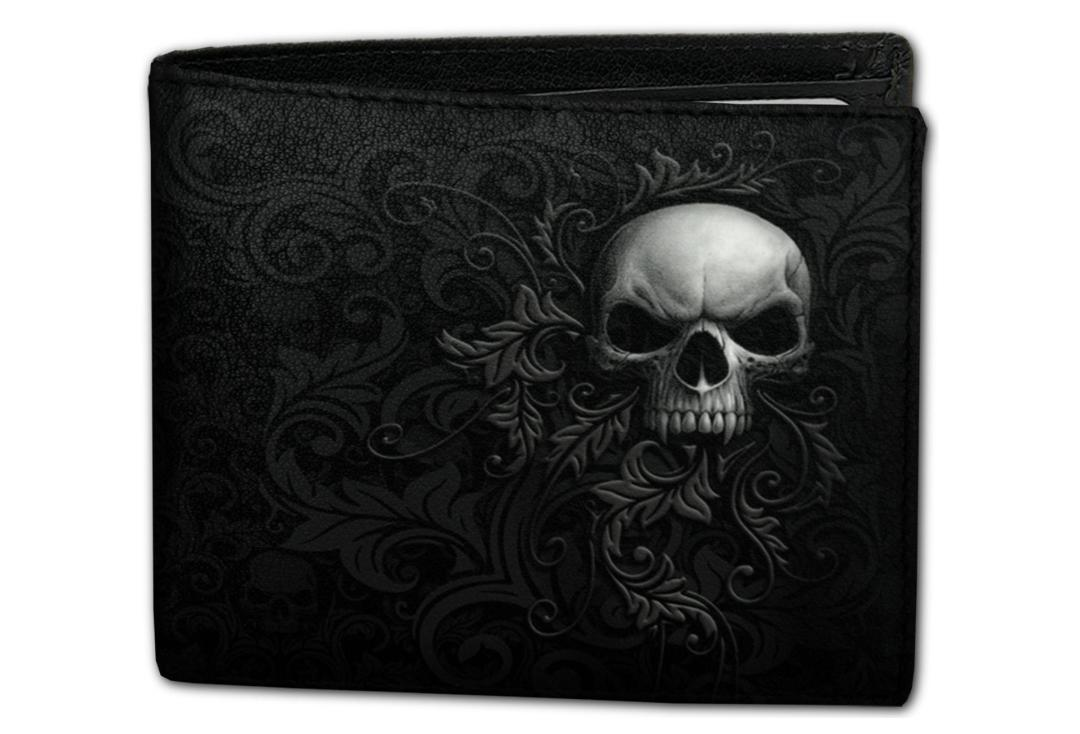 Spiral Direct | Skull Scroll Spiral Bi-Fold RFID Blocking Wallet - Front