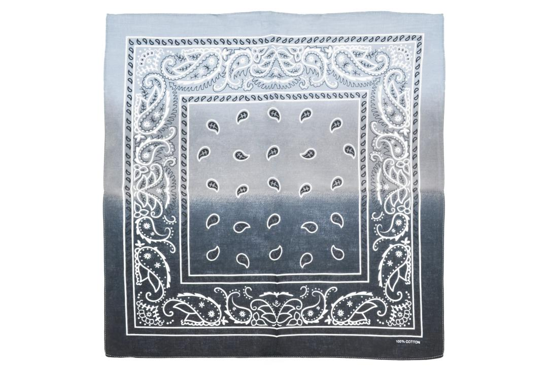Void Clothing | Black & Grey Two Tone Paisley Cotton Bandana
