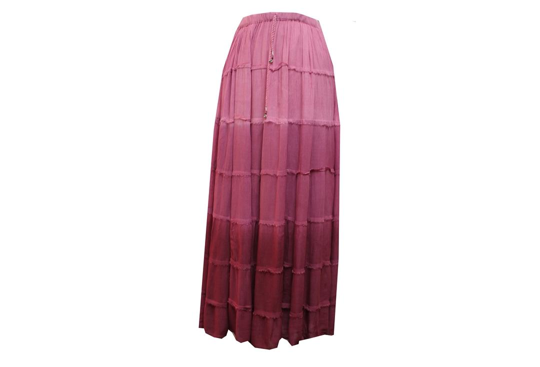 Void Clothing | Wine Fade Hippy Crinkle Skirt - Front