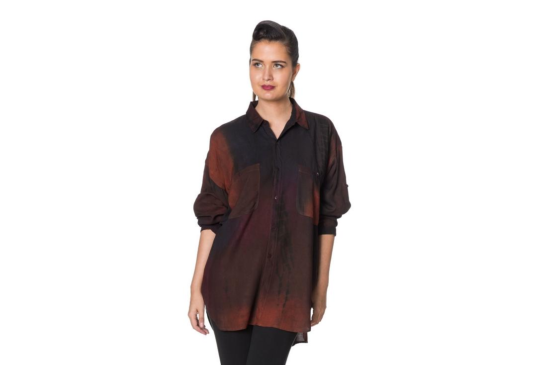 Void Clothing | Black Rust Tie Dye Shirt- Front