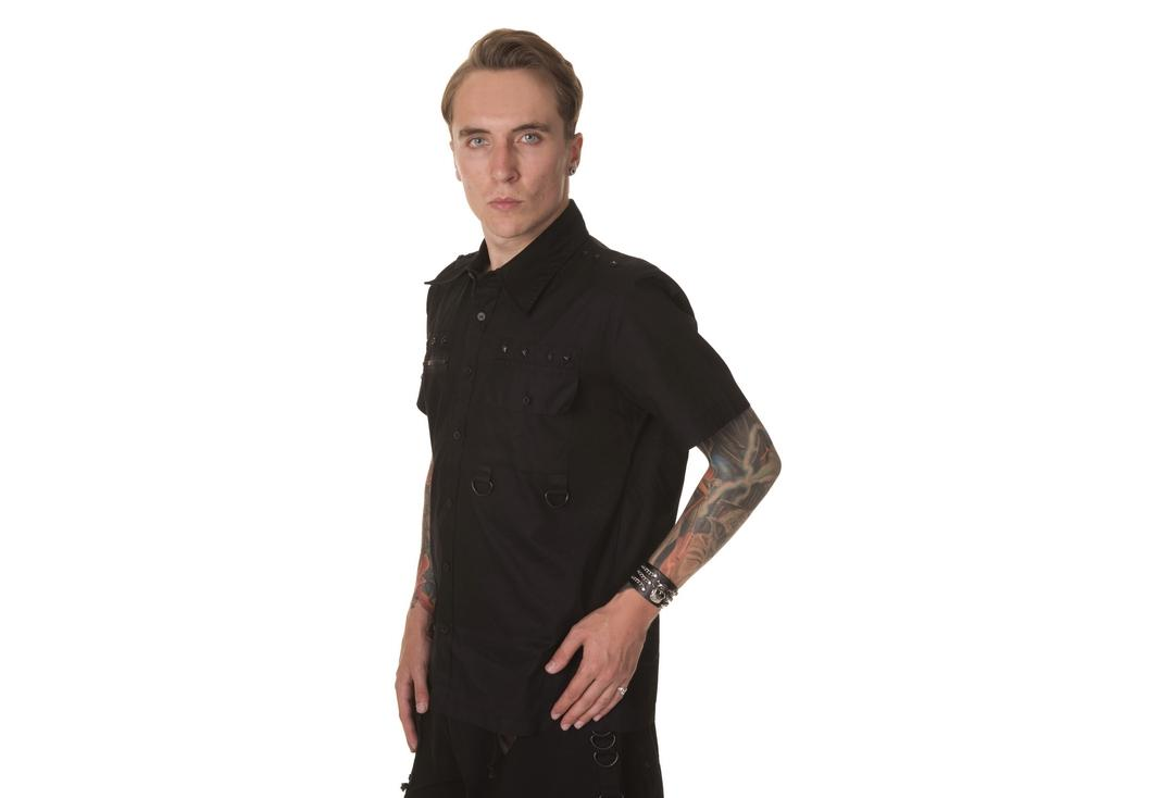 Dead Threads | Black Stud Detail 9522 Short Sleeve Shirt - Front Side